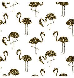 Flamingo gold glitter silhouette seamless vector