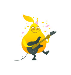 Flat funny pear fruit character playing vector