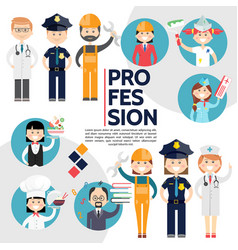 Flat male and female professions composition vector