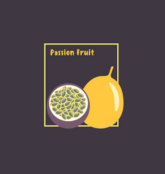 hand drawing exotic tropical passion fruit or vector image