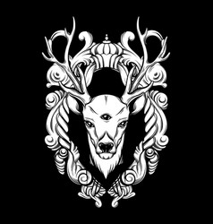 hand drawn beautiful hand sketched deer with vector image