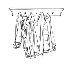 Hand drawn wardrobe sketch Coat and other winter vector image