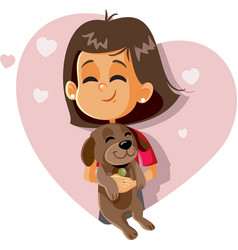 happy girl holding a puppy cartoon vector image