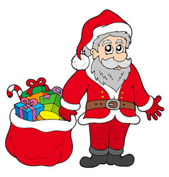 happy santa claus with gifts vector image