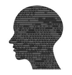 Head silhouette with binary code vector