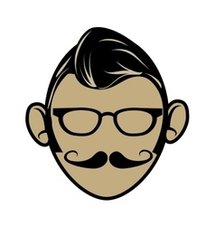 Hipster cartoon face vector