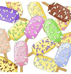 Ice creams on a stick vector image