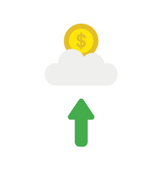 icon concept of dollar coin on cloud with arrow vector image