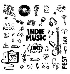 Indie rock music tatoos set black and white vector