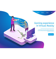 isometric gaming experience in virtual reality vector image