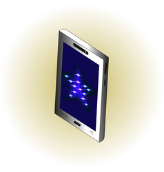 isometric smartphone with blue neon star on screen vector image