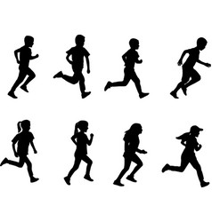 Kids running silhouettes vector