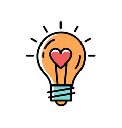 light bulb idea love icon feelings vector image
