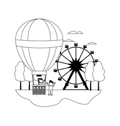 Line funny air balloon entertainment with children vector