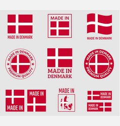made in denmark icon set made in kingdom of vector image