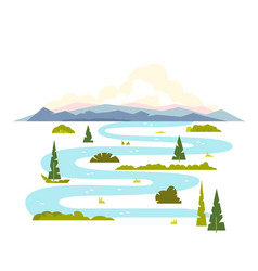 Meandering river landscape vector