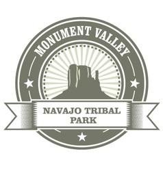 Monument valley stamp - navajo tribal park emblem vector
