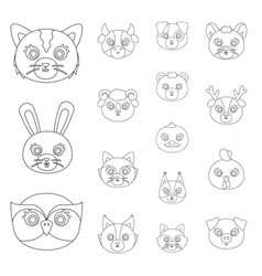 Muzzles of animals outline icons in set collection vector