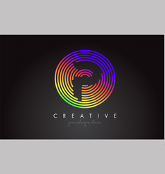 p letter logo design with colorful rainbow vector image