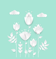 Paper cut flowers - modern colorful vector