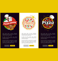 Pizza house online promotional vertical banners vector