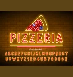Pizzeria neon light alphabet extra glowing font vector