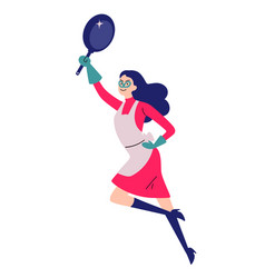 Portrait cleaning super hero housewife with a vector