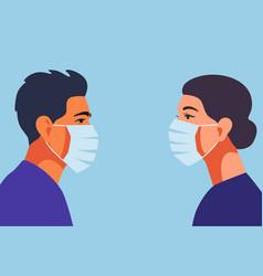 profile doctors or nurse in face mask vector image