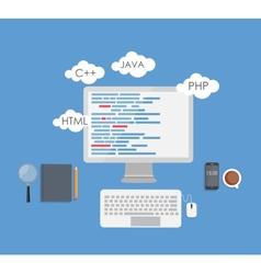 Programming Coding Flat Concept vector image