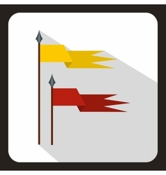 Red and yellow ancient battle flags icon vector