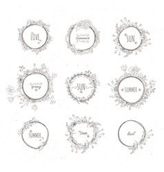 rustic hand drawn flower elements set vector image