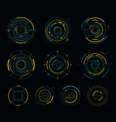 sci-fi display circular elements hud futuristic vector image