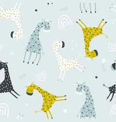 seamless childish pattern with colorful giraffes vector image
