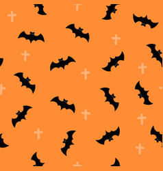 seamless pattern with halloween bat on orange vector image