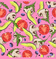 seamless pattern with vegetarian food vector image