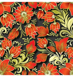 seamless red floral ornament on black background vector image