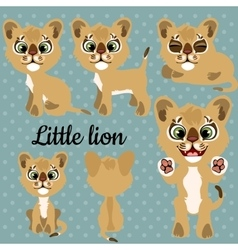set emotions a little lion on a gray background vector image