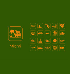 set of miami simple icons vector image