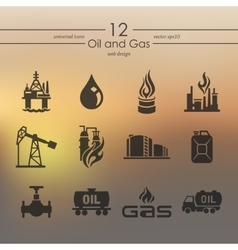 Set of oil and gas icons vector