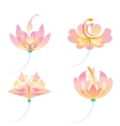 Set of oriental flowers vector