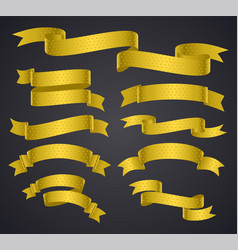 Set of yellow curved ribbon or banner vector