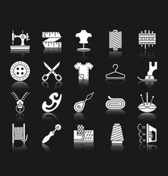 Sewing white silhouette icons set vector