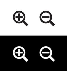 Simple black zoom magnify glass plus and minus vector