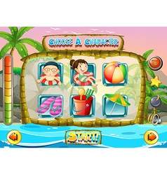 Slot game template with children characters vector