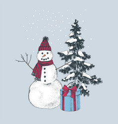 Snowman with present over christmas tree vector