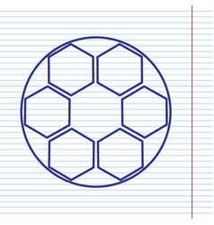 soccer ball sign navy line icon on vector image