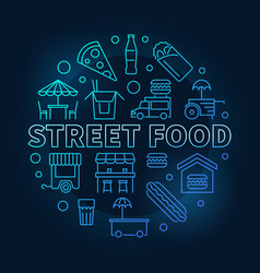 Street food blue round symbol line vector