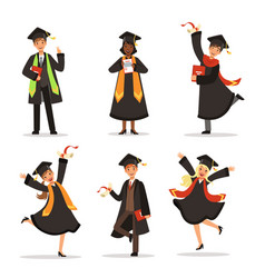 success and happy students graduation vector image