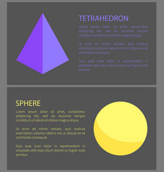 Tetrahedron and sphere isolated on black backdrop vector