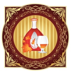 The cognac engraving on wood vector image